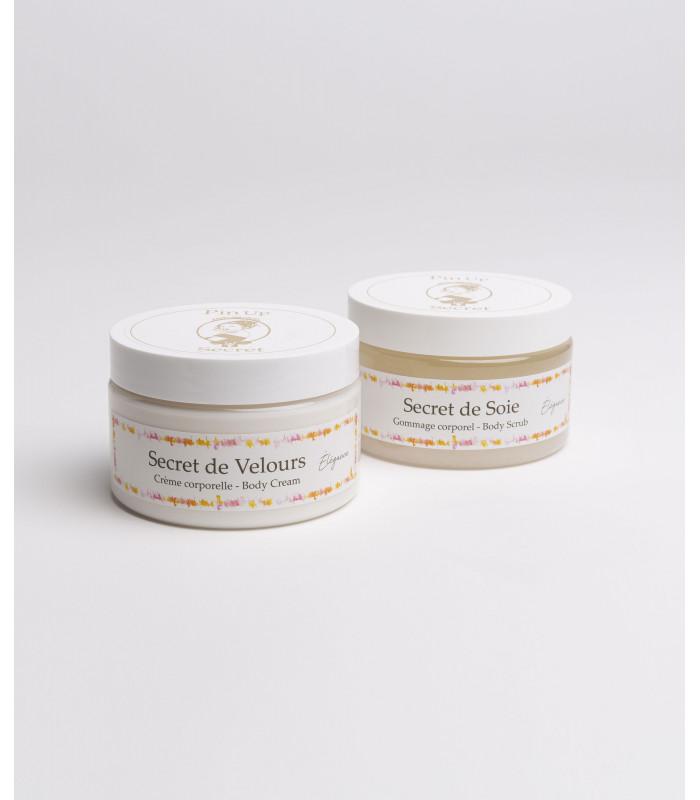 duo-care-set-body-scrub-cream-perfume-élégance-pinup-secret