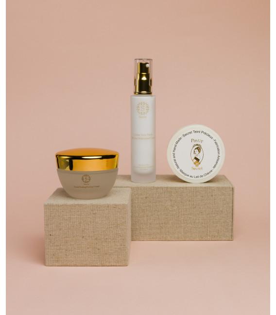skin-care-set-crème-sans-huile-secret-teint-précieux-peeling-facial-gel-goat-milk-soap-without-oil-cream-pinup-secret